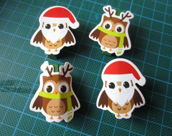set of 4 owls decorative clips