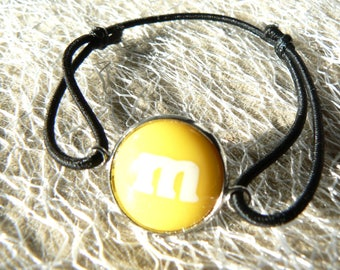 M bracelet & me bow yellow s sliding belly cabochon 14mm