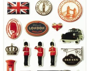 """Stickers Cooky embossed """"London"""" x 20 - MAILDOR - Ref 560381"""