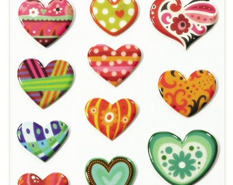 """Stickers Cooky raised """"Hearts"""" x 17 - MAILDOR - Ref 560404"""