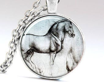 A beautiful necklace with a glass cabochon 25 mm horse sketch