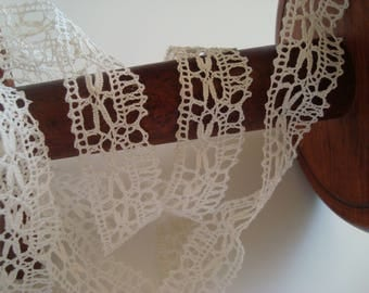 3.45 m of fine cotton thread ecru lace ultra thin width 24 mm approx