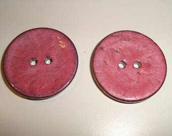 Big round wooden button look enameled ROSE - 2 holes - 30 mm - sewing - knitting - Scrapbooking
