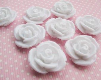 4 white 20x10mm resin flower cabochons