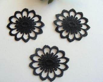 Black mesh flower applique cotton polyester oval 5 * 4 cm