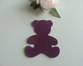 leather applique bear purple color 6 * 7, 3 cm