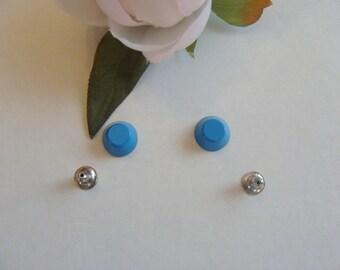Set of 2 rivets Blue barrel-shaped zinc alloy