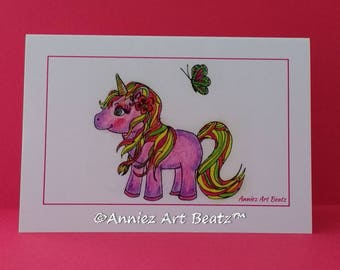 Kids birthday cards/cute cards/hand drawn cards/unicorn
