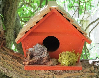 Orange Wood Birdhouse