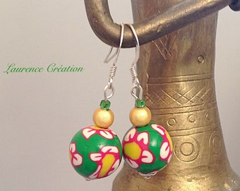 Earrings red, green and yellow with Fimo round beads.
