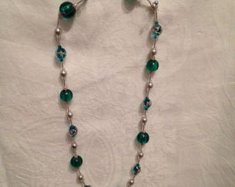 Necklace glass beads and green seed beads