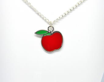 Red Apple Pendant Silver Plated Necklace