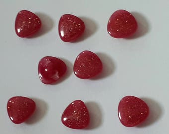 set of 8 buttons red triangle sequin 12 mm scrapbooking