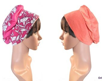 """REVERSIBLE beret """"Coralie"""" & its removable fabric flower"""