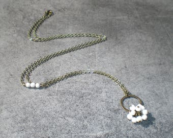 White marble beads cluster necklace