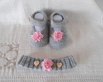 slippers shape babies + headband baby/reborn wool 0/3 months
