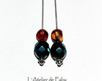 Blue and amber dangling earrings