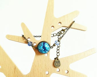 Bronze and blue polymer clay cabochon bracelet
