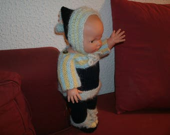 for baby 36 cm, all knitted blue and Navy + yellow