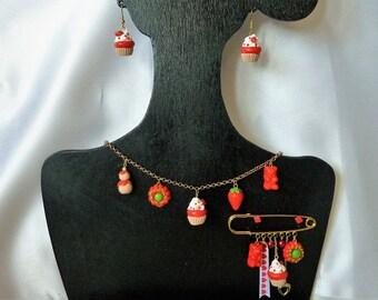 Gourmet jewelry necklace brooch red Strawberry earrings OOAK