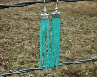Turquoise fringe earrings, leather earrings, deerskin leather, teal, turquoise, fringe earrings