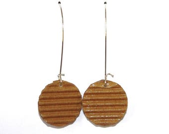 "Earrings made of recycled corrugated cardboard ""caramel"""