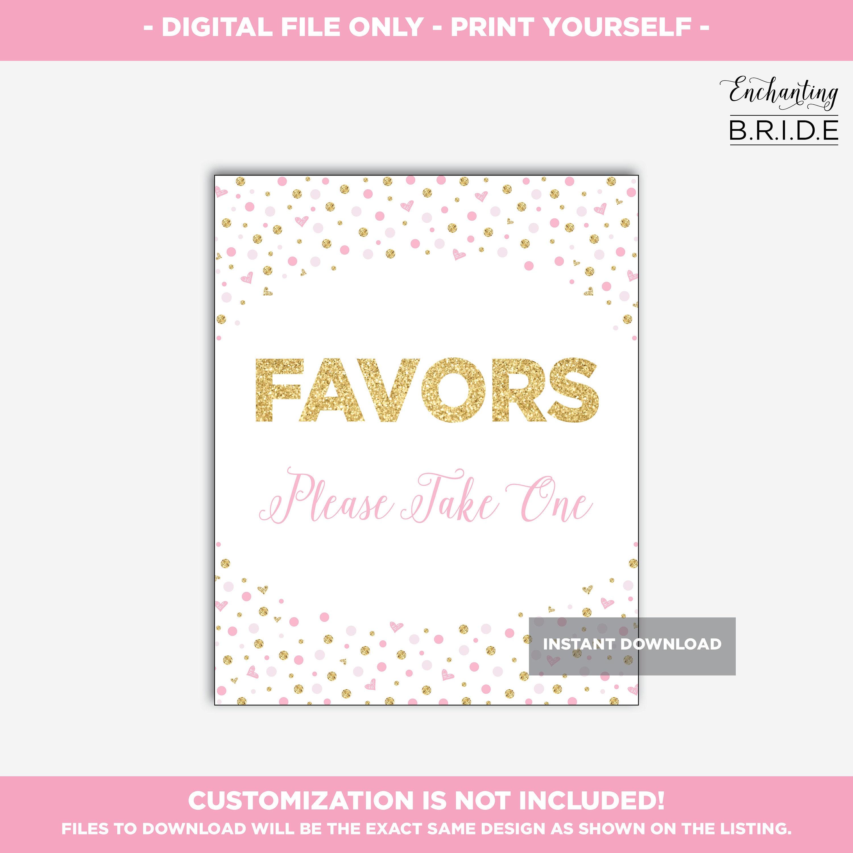 Printable Favors Sign, Blush Pink Gold Confetti Glitter Bridal ...