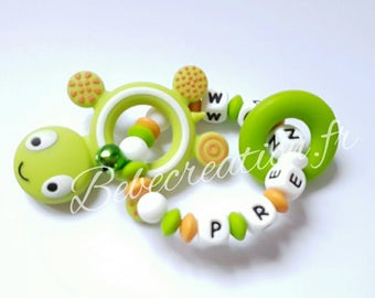 personalized all silicone turtle rattle