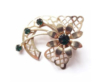 FREE DELIVERY! Vintage 1950's Green Rhinestone Flower Bow Goldtone Brooch