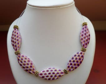 Pink and mauve necklace in pearls fantasy