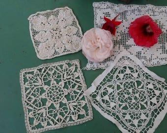 Applications, lace, doilies set of 4