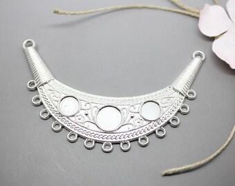 1 bib connector Moon silver 8-10mm - SC76069 - design - jewelry cabochon