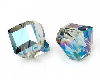 Lot 30 beads glass forms irregular 5mm blue green - SC72668-