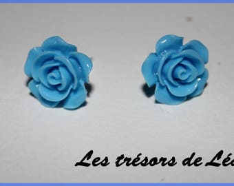 Earrings chip Silver Blue rose resin
