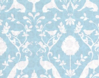 Light blue cotton fabric white pattern