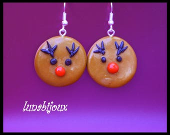 polymer clay cookie reindeer Christmas jewelry gift earring