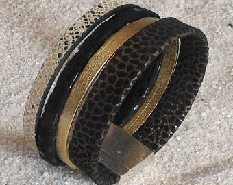 Gold and black leather Cuff Bracelet