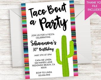 Taco Bout A Party Invite Invitation Digital 5x7 Fiesta ANY AGE Adult Kids Cactus Birthday