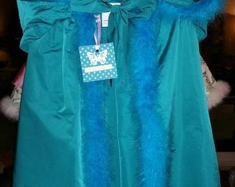 Swan trimmed turquoise blue taffeta Cape