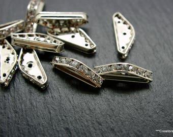 10 silver swarovski spacer connectors 22 x 8 mm