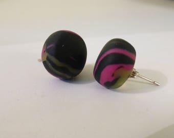 Round Stud Earrings black yellow and pink
