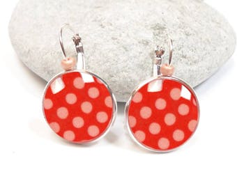 Polka dot red rose cabochon earrings
