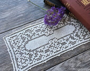 Vintage Handmade Button Hole Lace Rectangular Doily
