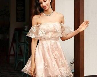 Off shoulder flower mesh summer dress women Elegant high waist backless mini dress Fashion strapless party robe femme