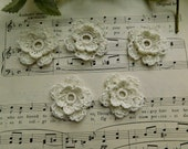 Small Fancy Hand Crocheted Cream Flowers - Set Of 5