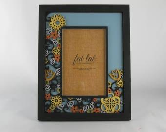 Hand painted Laser cut Floral Design Wood Frame