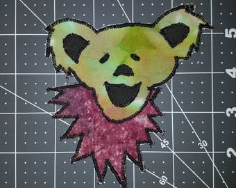 Dancing Bear face iron-on patch