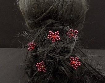 A Burgundy flower hair pins