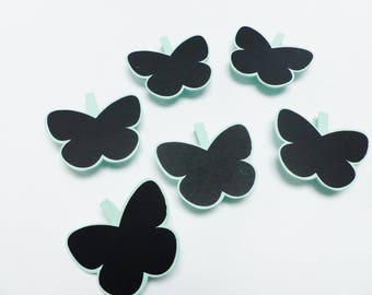 6 clips slate linen and wood Butterfly 7 cm black and green clip