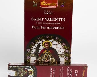 Box of 15 gr Aromatika Valentine for the sweetheart Rose Rouge incense sticks